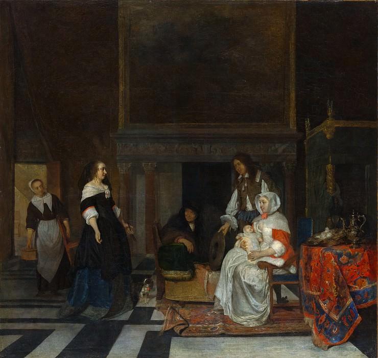 Gabriël Metsu - The Visit to the Nursery. Metropolitan Museum: part 1