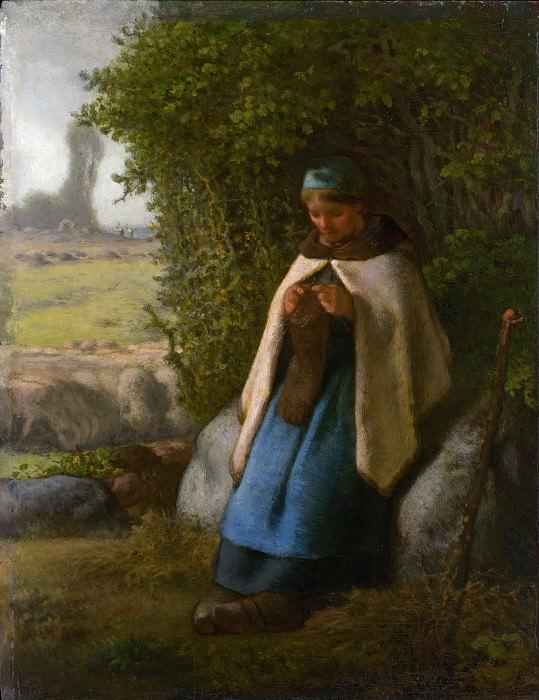 Jean-François Millet - Shepherdess Seated on a Rock. Metropolitan Museum: part 1