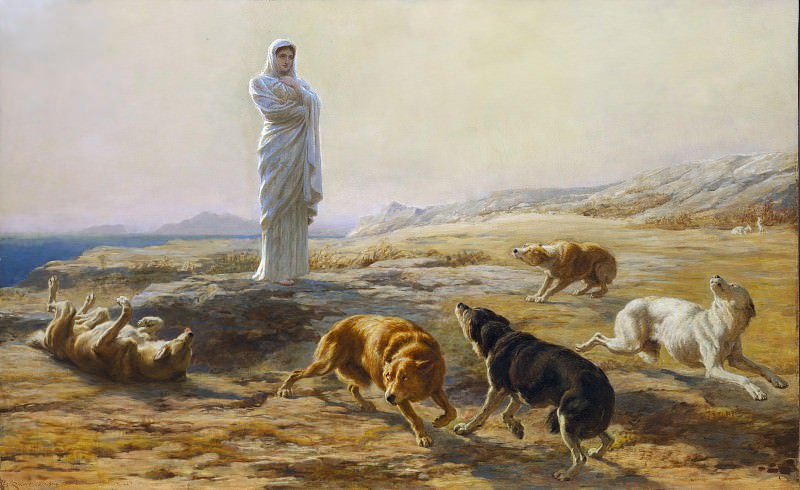 Briton Riviere - Pallas Athena and the Herdsman's Dogs. Metropolitan Museum: part 1