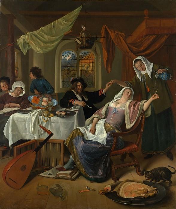 Jan Steen - The Dissolute Household. Metropolitan Museum: part 1