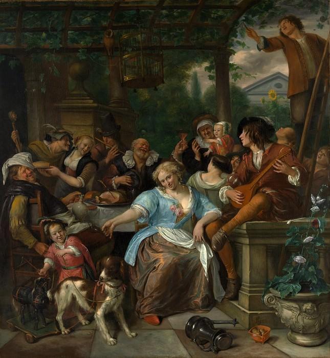 Jan Steen - Merry Company on a Terrace. Metropolitan Museum: part 1