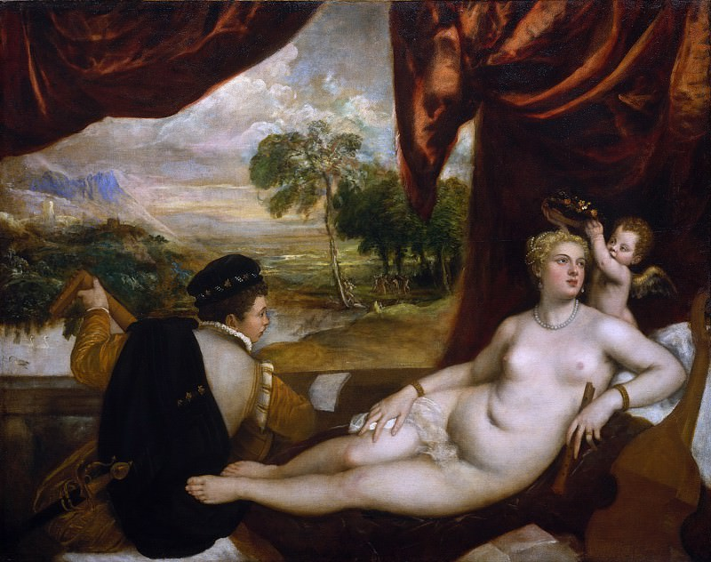 Titian and Workshop - Venus and the Lute Player. Metropolitan Museum: part 1
