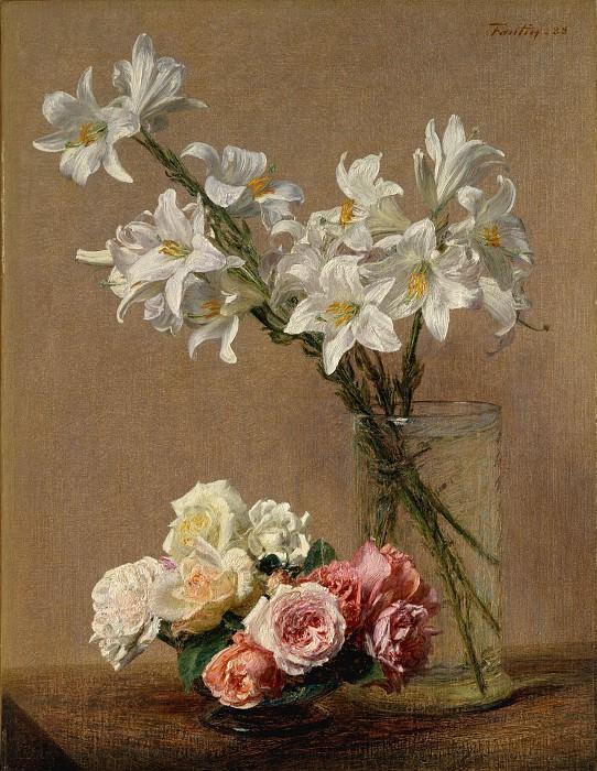 Henri Fantin-Latour - Roses and Lilies. Metropolitan Museum: part 1