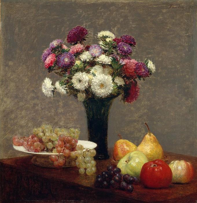 Henri Fantin-Latour - Asters and Fruit on a Table. Metropolitan Museum: part 1