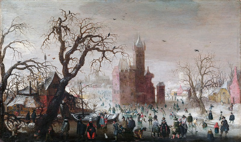 Christoffel van den Berghe - A Winter Landscape with Ice Skaters and an Imaginary Castle. Metropolitan Museum: part 1