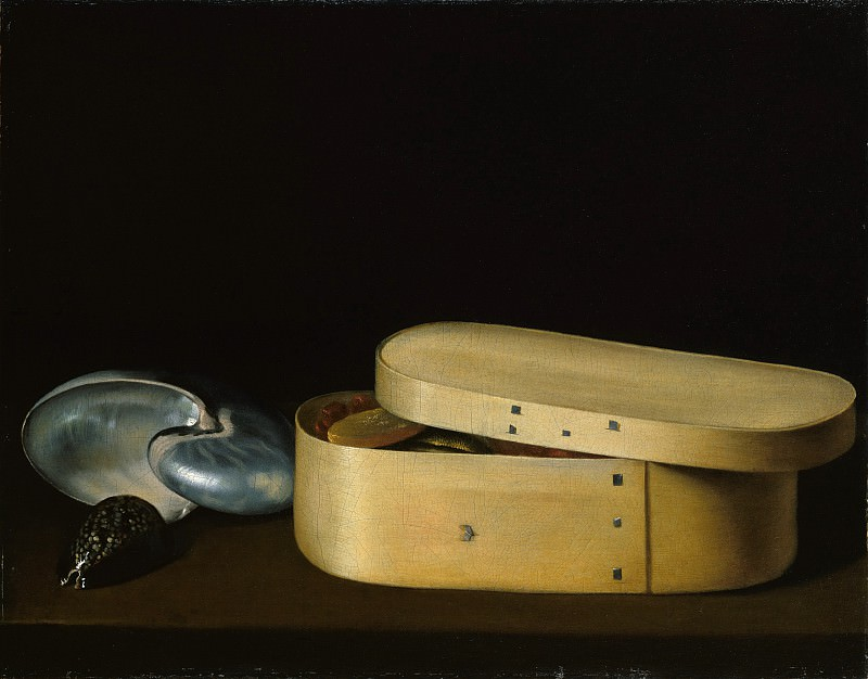 Sebastian Stoskopff - Still Life with a Nautilus, Panther Shell, and Chip-Wood Box. Metropolitan Museum: part 1