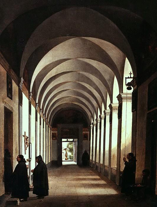 François-Marius Granet - Monks in the Cloister of the Church of Gesù e Maria, Rome. Metropolitan Museum: part 1