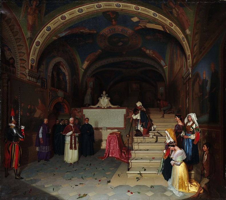 Jean-François Montessuy - Pope Gregory XVI Visiting the Church of San Benedetto at Subiaco. Metropolitan Museum: part 1