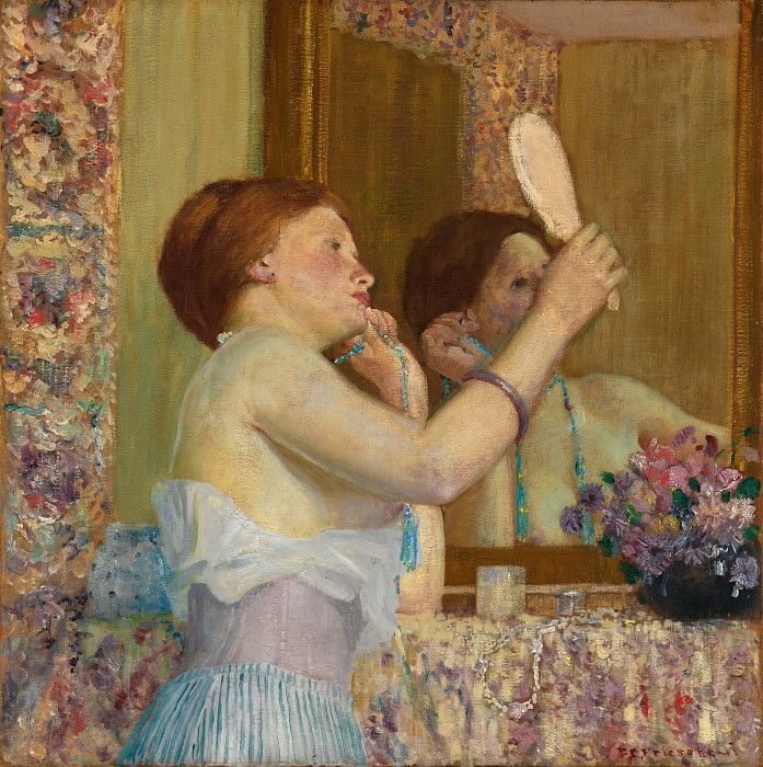 Frederick Carl Frieseke - Woman with a Mirror (Femme qui se mire). Metropolitan Museum: part 1