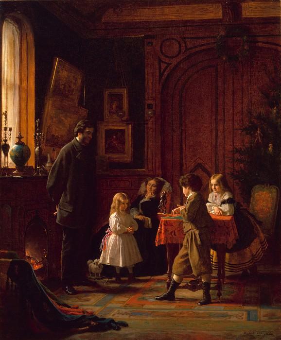Eastman Johnson - Christmas-Time, The Blodgett Family. Metropolitan Museum: part 1