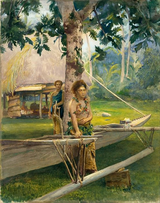 John La Farge - Portrait of Faase, the Taupo, or Official Virgin, of Fagaloa Bay, and Her Duenna, Samoa. Metropolitan Museum: part 1