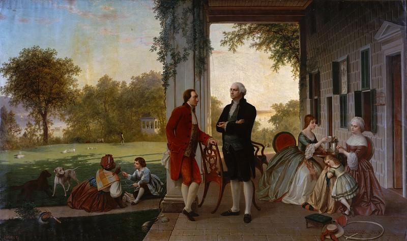 Томас Причард Росситер - Вашингтон и Лафайет в Маунт-Вернон, 1784 (Дом Вашингтона после войны). Музей Метрополитен: часть 1