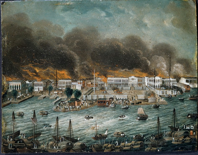Chinese Painter - Burning of the Factories in Canton. Metropolitan Museum: part 1
