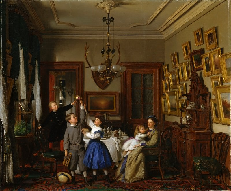 Seymour Joseph Guy - The Contest for the Bouquet: The Family of Robert Gordon in Their New York Dining-Room. Metropolitan Museum: part 1
