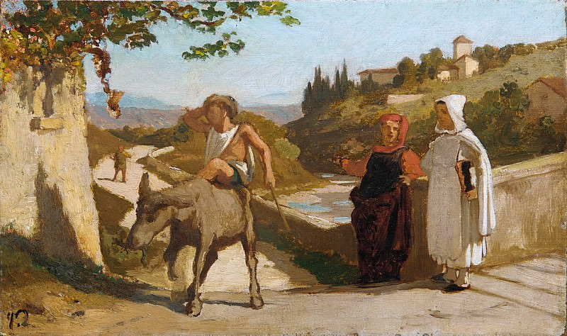 Elihu Vedder - The Fable of the Miller, His Son, and the Donkey. Metropolitan Museum: part 1