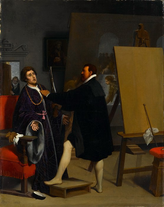 Jean-Auguste-Dominique Ingres - Aretino in the Studio of Tintoretto. Metropolitan Museum: part 1