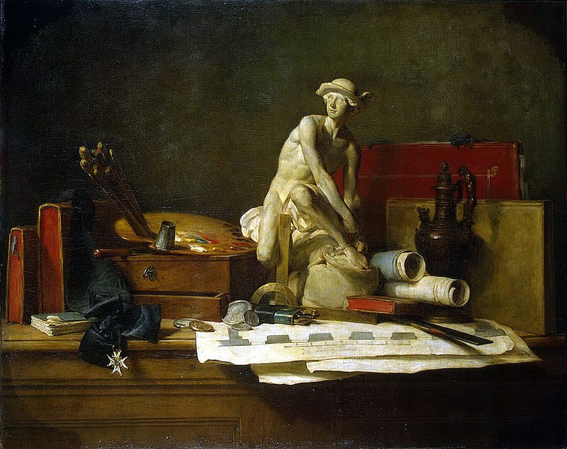 Chardin, Jean-Baptiste-Simeon. Still Life with Attributes of the Arts. Hermitage ~ part 13