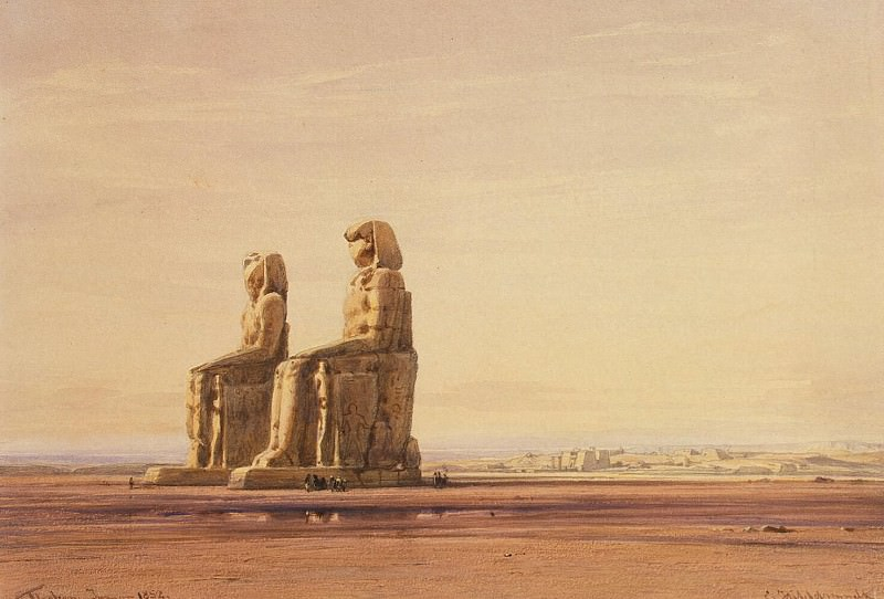 Hildebrandt, Eduard. Statues of Memnon at Thebes background. Hermitage ~ part 13