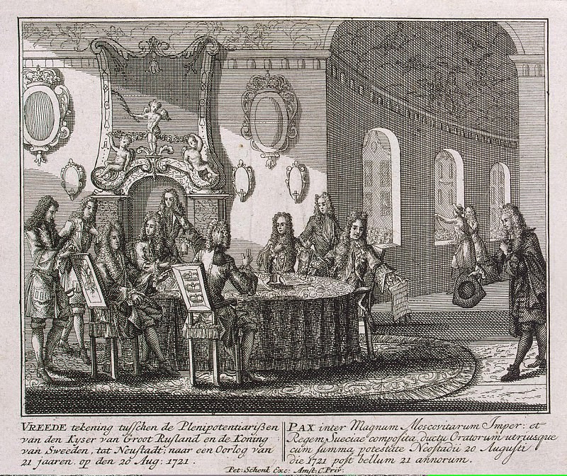 Schenk, Peter. The signing of a peace treaty in Nishtadte August 20, 1721. Hermitage ~ part 13