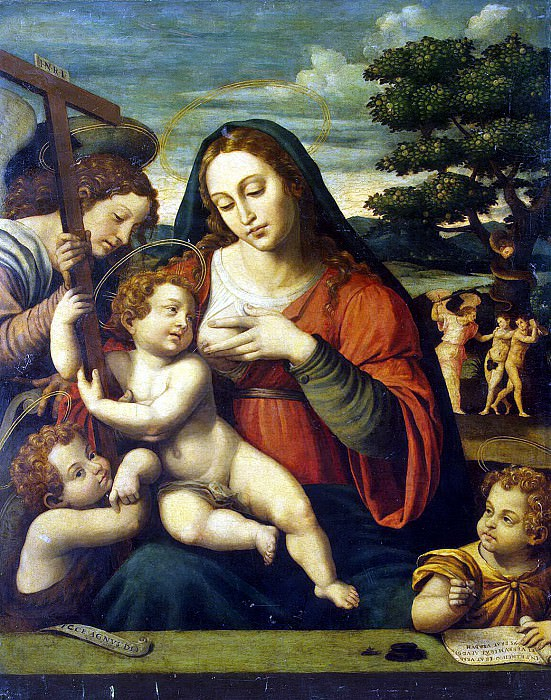 Joan de Hoanes. The Virgin and Child Jesus and Children by John the Baptist and John the Evangelist. Hermitage ~ part 13