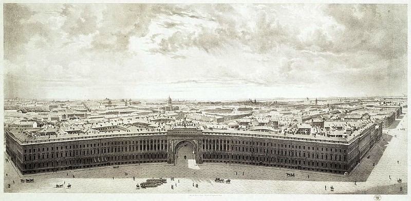 Chernetsov, Grigory. Part of the panorama of Palace Square, taken from the forests of the Alexander Column. Hermitage ~ part 13