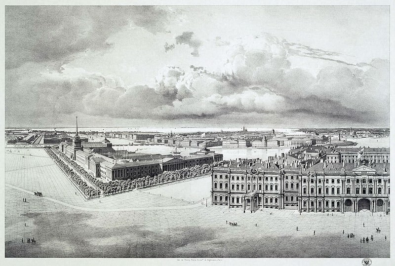 Chernetsov, Grigory. Part of the panorama of Palace Square, taken from the forests of the Alexander Column (2). Hermitage ~ part 13