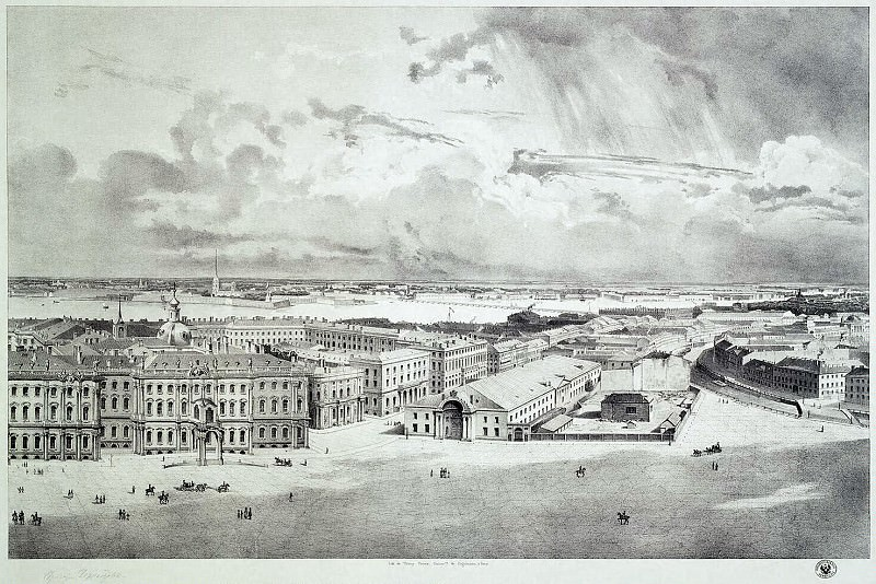 Chernetsov, Grigory. Part of the panorama of Palace Square, taken from the forests of the Alexander Column (3). Hermitage ~ part 13