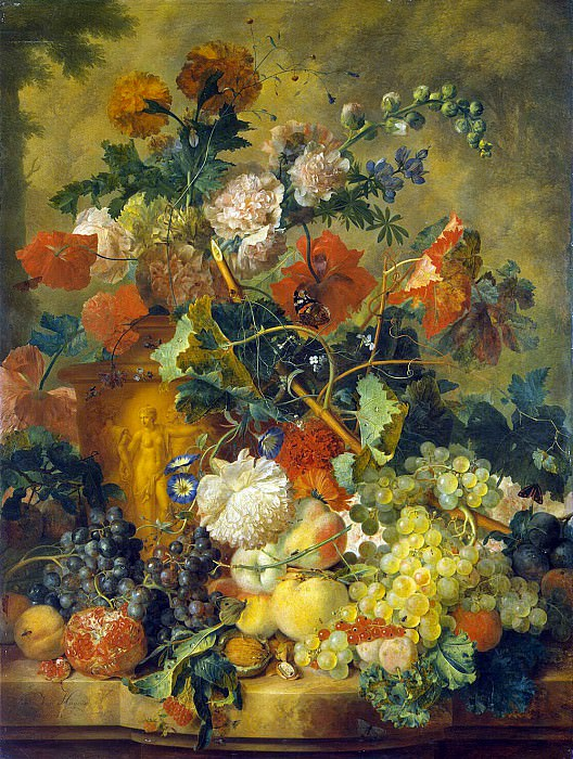 Huysum, Jan van. Flowers and fruits. Hermitage ~ part 13
