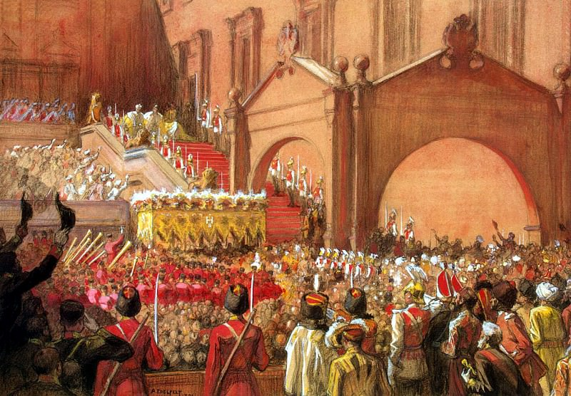Edelfelt, Albert. Exit Emperor Nicholas II after the coronation of the Red Porch. Hermitage ~ part 13