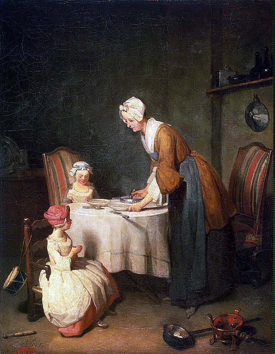 Chardin, Jean-Baptiste-Simeon. Prayer before dinner. part 13 Hermitage
