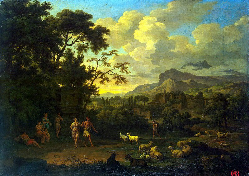Heysh, Jacob de. Landscape with dancing shepherds. Hermitage ~ part 13