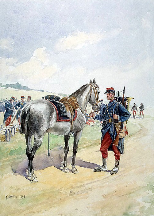 Schaeffer, E.. French soldiers, who holds the reins of the horse. Hermitage ~ part 13