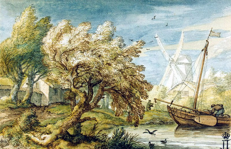 Everdingen, Allart van. Landscape with boat. Hermitage ~ part 13