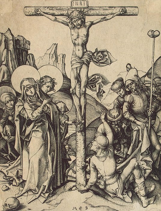 Schongauer, Martin. Crucifixion with the soldiers, sharing Christs garment. Hermitage ~ part 13