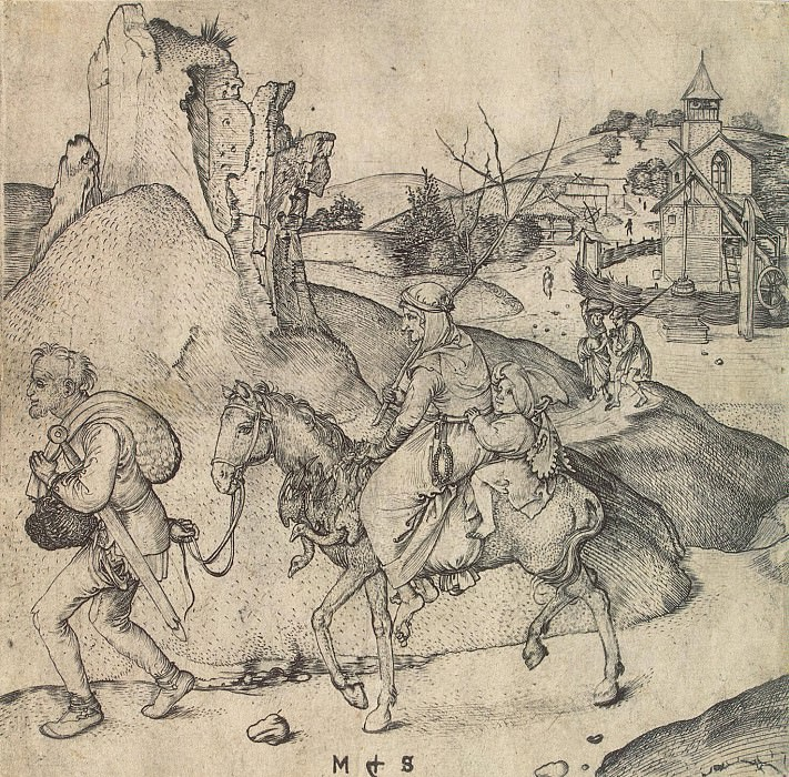 Schongauer, Martin. Peasant Family on their way to market. Hermitage ~ part 13