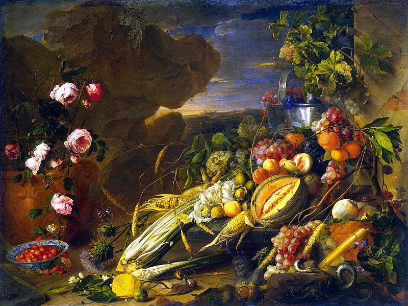 Heem, Jan De Davids. The fruit and a vase with flowers. Hermitage ~ part 13