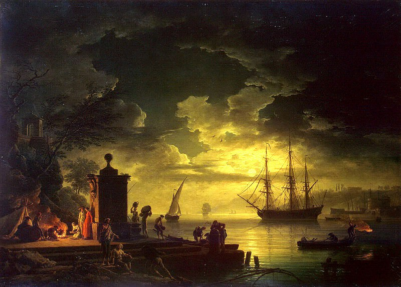 Vernet, Claude Joseph - Kind of around Citta Nuova in Illyria in the moonlight. Hermitage ~ part 03