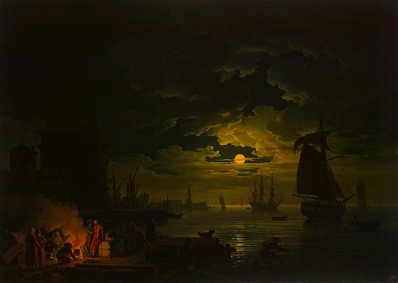 Vernet, Claude Joseph - Entrance to the port of Palermo in the moonlight. Hermitage ~ part 03