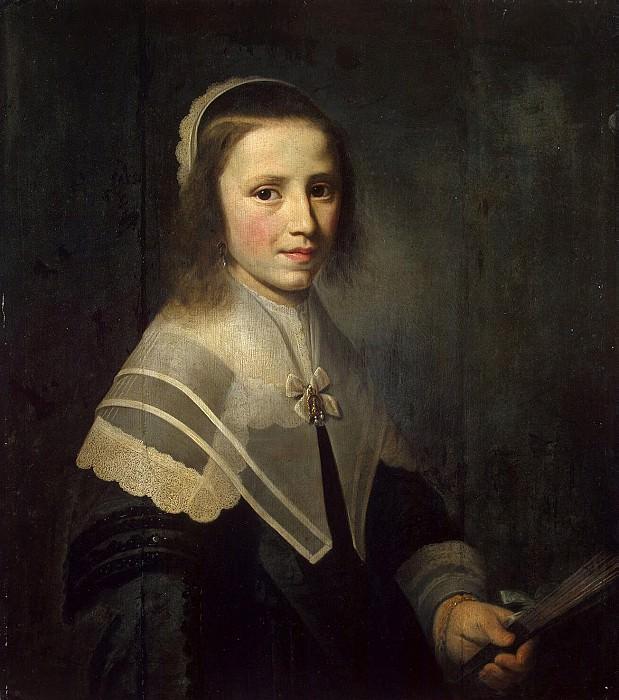 Vliet, Hendrik Cornelis van der - Portrait of a Girl with a Fan. Hermitage ~ part 03