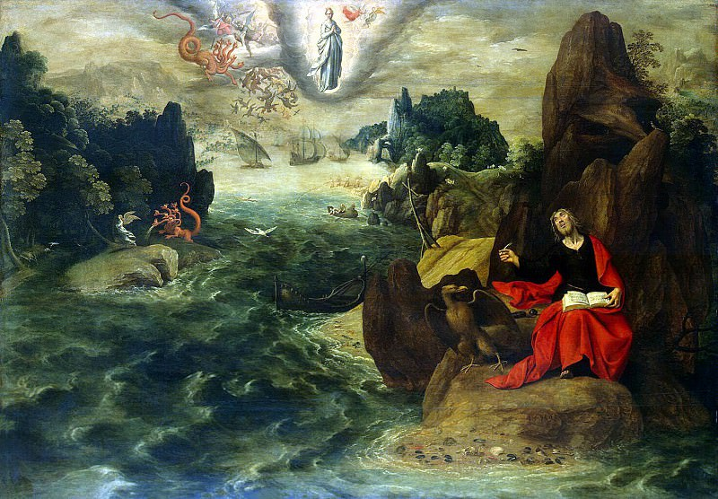 Verhaht, Tobias Konya, Gilles - Landscape with St John the Evangelist, writing a book Apocalypse in Patmos. Hermitage ~ part 03