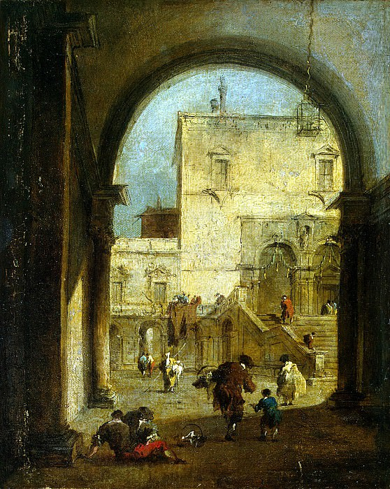 Guardi, Francesco - View of the square with the palace. Hermitage ~ part 03