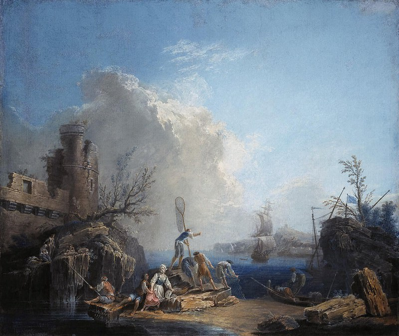 Volare, Pierre-Jacques, known as the Chevalier Volare - Seascape with fishermen on the rocky shore. Hermitage ~ part 03