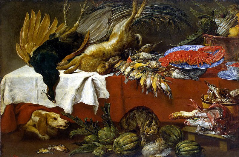 Sun, Pauvel de - Still Life with a broken game and lobster. Hermitage ~ part 03