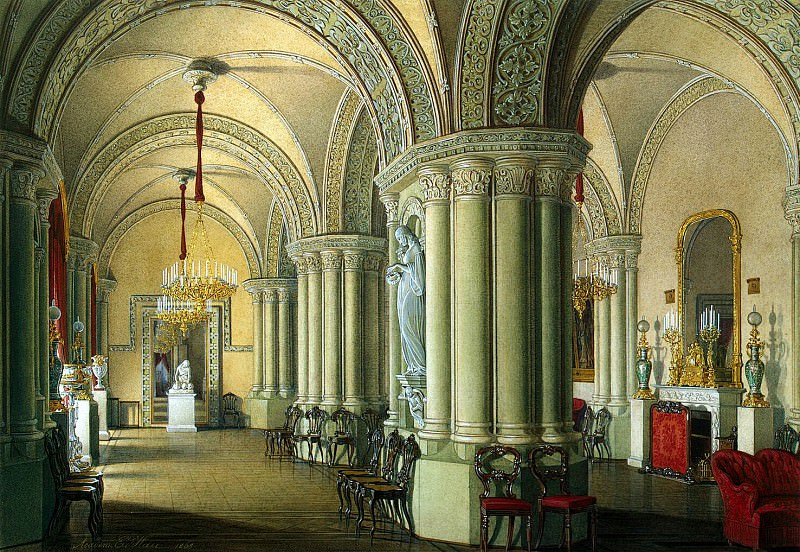 Hau Edward Petrovich - Types of rooms of the Winter palace. Gothic Drawing Room Grand Duchesses. Hermitage ~ part 03