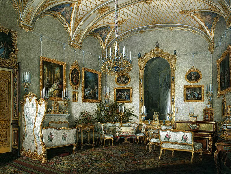 Hau Edward Petrovich - Types of rooms of the Winter Palace. White Hall of the Empress Alexandra Feodorovna. Hermitage ~ part 03