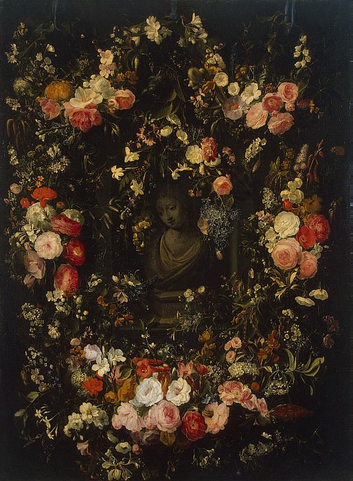 Verendal, Nicholas van - Bust of Madonna in the garland of flowers. Hermitage ~ part 03