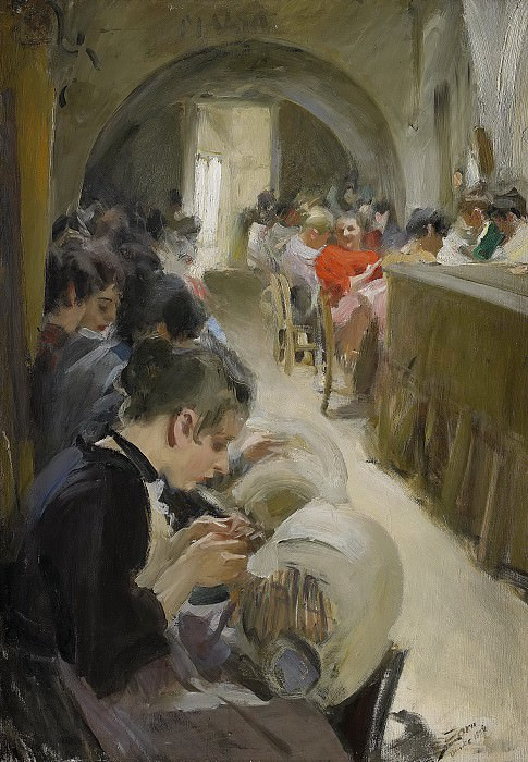 Lace-making in Venice. Anders Zorn