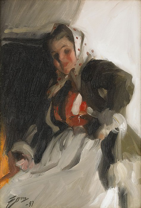 By the fireplace. Anders Zorn