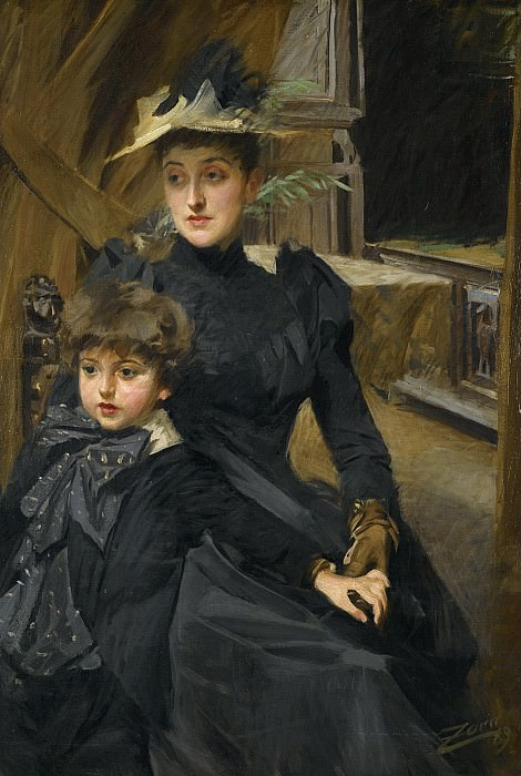 MRS WEGUELIN AND HER SON. Anders Zorn