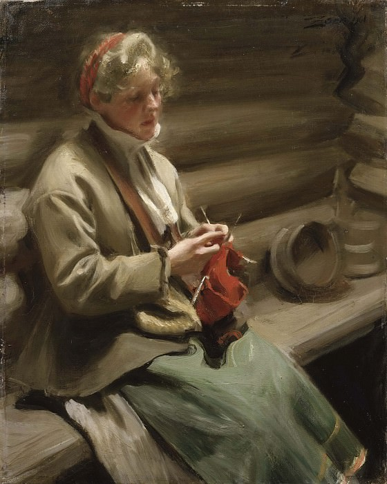 Dalecarlian Girl Knitting. Cabbage Margit. Anders Zorn